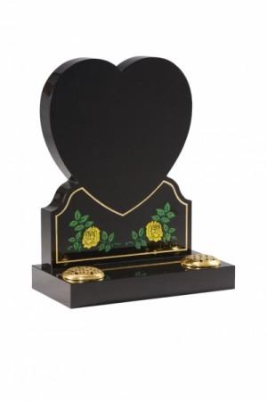 EC156 Dense Black Granite Heart Memorial