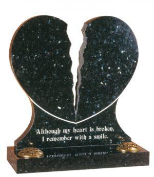 Emerald Pearl Granite Heart Memorial