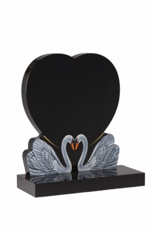 EC159 Dense Black Granite Heart Memorial