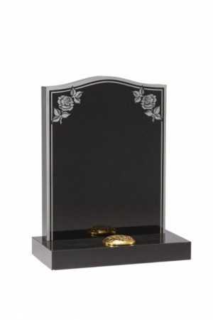 Dense Black Granite headstone with border