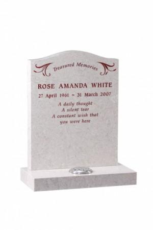 Rose White Granite Headstone