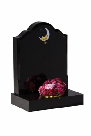 EC232 Dense Black Granite Children's Memorial Headstone
