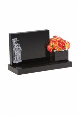 EC242 Dense Black Granite Cremation Memorial Stone