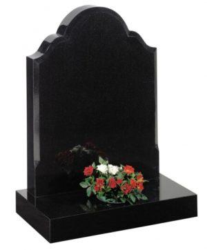 Dense Black Granite Memorial Headstone EC25