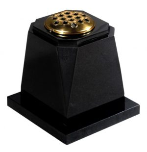 EC272 Dense Black Granite Memorial Vase