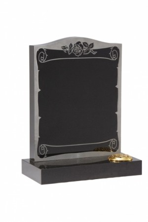 Dense Black Granite Memorial Headstone EC30