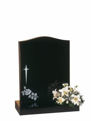 EC31 Dense Black Granite Memorial Headstone