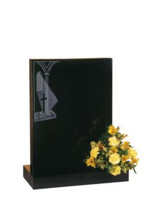 EC37 Dense Black Granite Memorial Headstone