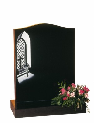 EC38 Dense Black Granite Memorial Headstone