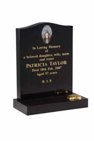 EC39 Dense Black Granite Memorial Headstone