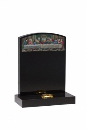 EC42 Dense Black Granite Memorial Headstone