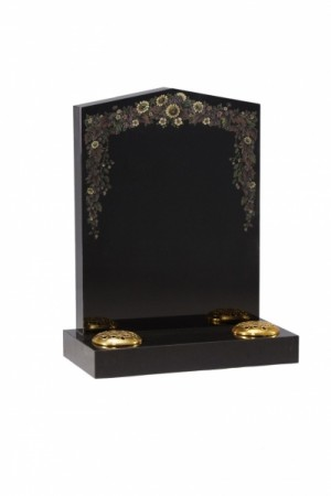 EC45 Dense Black Granite Memorial Headstone