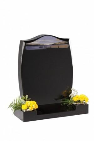 Dense Black Granite Headstone EC5