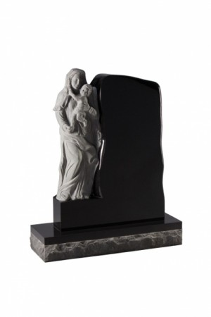 EC86 Dense Black Granite Memorial Headstone