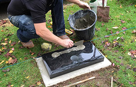 Preparing the base ready for the headstone