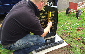 Leveling the Headstone